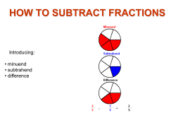 HOW TO SUBTRACT FRACTIONS Introducing: • minuend • subtrahend