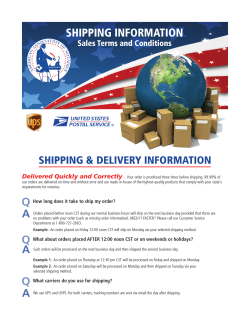SHIPPING INFORMATION SHIPPING & DELIVERY INFORMATION Sales Terms and Conditions