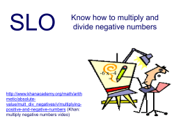 SLO Know how to multiply and divide negative numbers -6 x –4