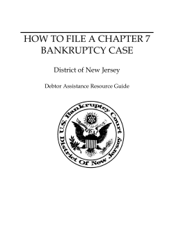 HOW TO FILE A CHAPTER 7 BANKRUPTCY CASE District of New Jersey