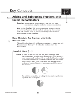 6-4 Key Concepts Adding and Subtracting Fractions with Unlike Denominators
