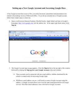Setting up a New Google Account and Accessing Google Docs