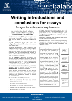 Writing introductions and conclusions for essays Paragraphs with special requirements