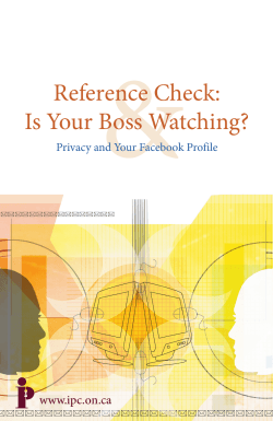 & Reference Check: Is Your Boss Watching? www.ipc.on.ca
