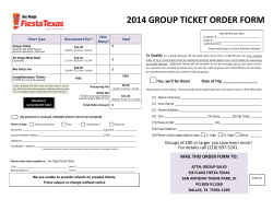 2014 GROUP TICKET ORDER FORM    How  Ticket Type