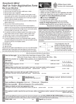 Mail-In Voter Registration Form Massachusetts Official How to use this form