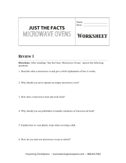 MICROWAVE OVENS JUST THE FACTS  Worksheet