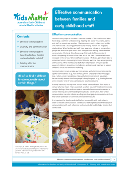 Effective communication between families and early childhood staff Contents