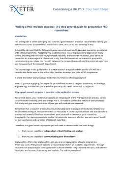 Considering a UK PhD:  Your Next Steps Writing a PhD research proposal:  A 6‐step general guide for prospective PhD
