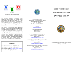 GUIDE TO OPENING A NEW FOOD BUSINESS IN SAN DIEGO COUNTY