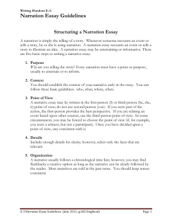Narration Essay Guidelines  Structuring a Narration Essay