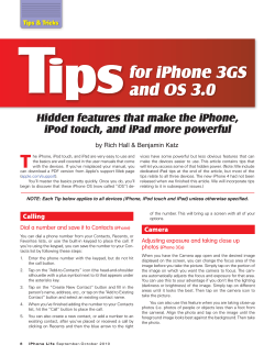 T ips for iPhone 3GS and OS 3.0