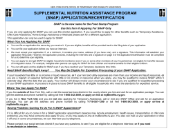 SUPPLEMENTAL NUTRITION ASSISTANCE PROGRAM (SNAP) APPLICATION/RECERTIFICATION