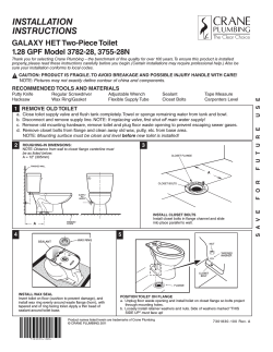 INSTALLATION INSTRUCTIONS GALAXY HET Two-Piece Toilet 1.28 GPF Model 3782-28, 3755-28N