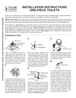 INSTALLATION INSTRUCTIONS ONE-PIECE TOILETS