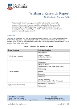 Writing a Research Report Writing Centre Learning Guide