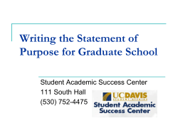 Writing the Statement of Purpose for Graduate School Student Academic Success Center