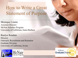 How to Write a Great Statement of Purpose Monique Limón Raslyn Rendon