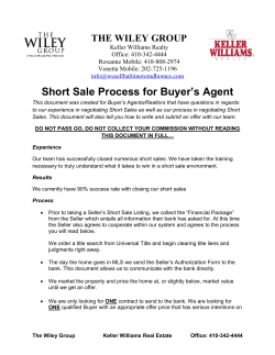 Short Sale Process for Buyer's Agent THE WILEY GROUP Keller Williams Realty