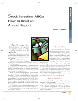 S tock Investing ABCs: How to Read an Annual Report