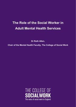 The Role of the Social Worker in Adult Mental Health Services