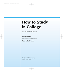 How to Study in College Walter Pauk