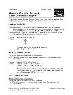 Greatest Common Factor & Least Common Multiple