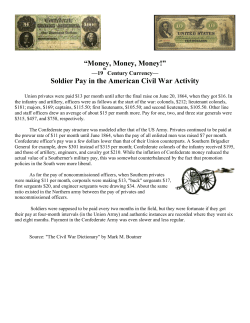 """Money, Money, Money!"" Soldier Pay in the American Civil War Activity —19"
