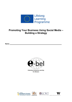 – Promoting Your Business Using Social Media Building a Strategy
