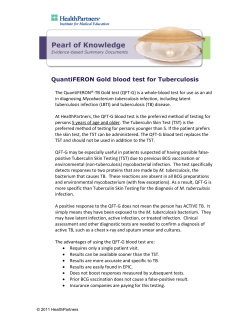 QuantiFERON Gold blood test for Tuberculosis
