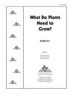 What Do Plants Need to Grow? Grades 2-4
