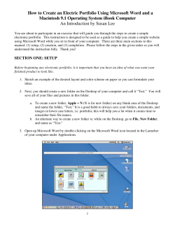 How to Create an Electric Portfolio Using Microsoft Word and... Macintosh 9.1 Operating System iBook Computer