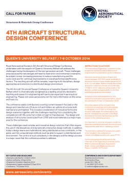4TH AIRCRAFT STRUCTURAL DESIGN CONFERENCE QUEEN'S UNIVERSITY BELFAST / 7-9 OCTOBER 2014