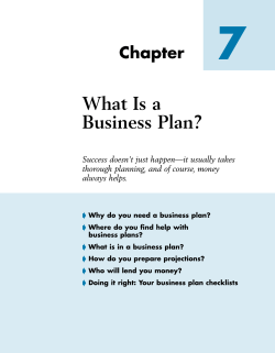 7 What Is a Business Plan? Chapter