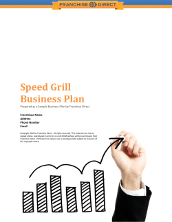 Speed Grill Business Plan  Franchisee Name