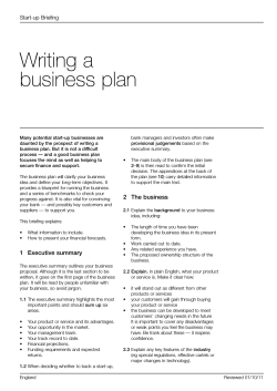 Writing a business plan Start-up Briefing