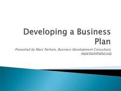 Presented by Marc Parham, Business Development Consultant,