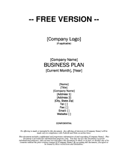 -- FREE VERSION -- BUSINESS PLAN [Company Logo]