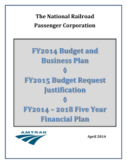 FY2014 Budget and Business Plan ◊ FY2015 Budget Request