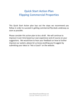 Quick Start Action Plan Flipping Commercial Properties