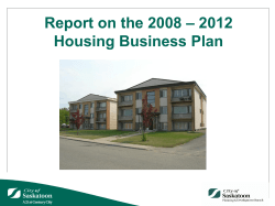 – 2012 Report on the 2008 Housing Business Plan
