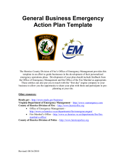 General Business Emergency Action Plan Template