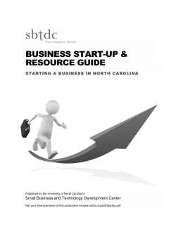 BUSINESS START-UP & RESOURCE GUIDE  Small Business and Technology Development Center