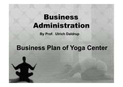 Business Administration Business Plan of Yoga Center By Prof.  Ulrich Daldrup