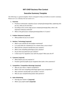 MIT-CHIEF Business Plan Contest Executive Summary Template