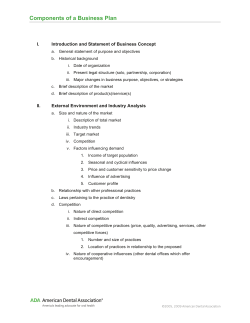 Components of a Business Plan  I. Introduction and Statement of Business Concept