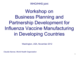 Workshop on Business Planning and Partnership Development for Influenza Vaccine Manufacturing