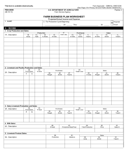FARM BUSINESS PLAN WORKSHEET FSA-2038 Projected/Actual Income and Expense