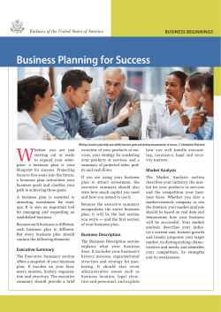 W Business Planning for Success BUSINESS BEGINNINGS