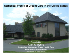 Statistical Profile of Urgent Care in the United States www.healthcarebook.com